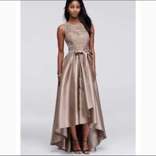 David's Bridal Sequin Lace Dress with Mikado Skirt