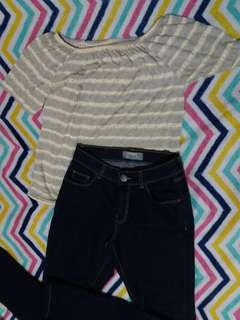 Yellow and Gray Stripes Off Shoulder