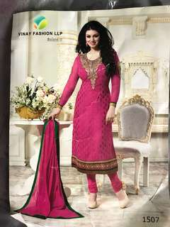 Punjabi suit material in hot pink and green