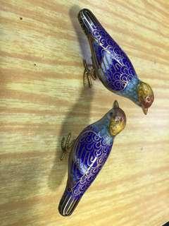 舊景泰藍 對鳥仔