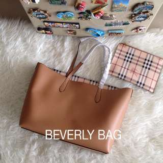 jual tas Burberry Dual Tote LEATHER MIRROR - mocca