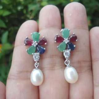 Genuine GEMSTONES in 925 sterling silver EARRINGS