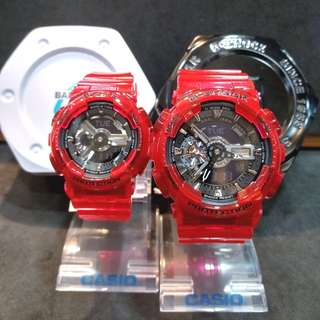 * FREE DELIVERY * Brand New 100% Authentic Casio GShock BabyG Jelly Red G Shock BabyG Pair Couple Watch GA110CR 4 BA110CR 4