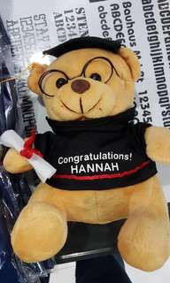 Customised Wordings on Teddy Bear w graduation hat