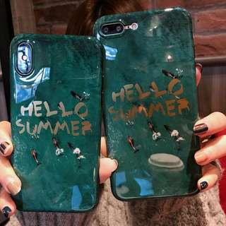 iPhone Case 祖母綠大理石全包軟電話殼