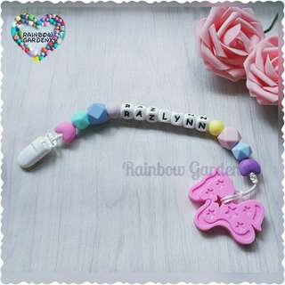 Handmade Customized Pacifier Clip with letter beads + Pink Pony Teether
