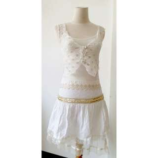 (150rb) Dress white +cardigan, bhn cotton+gauze manik+ brokat silk, bhn cardi net, LD64-80,pjg73-89,waist72,hip80