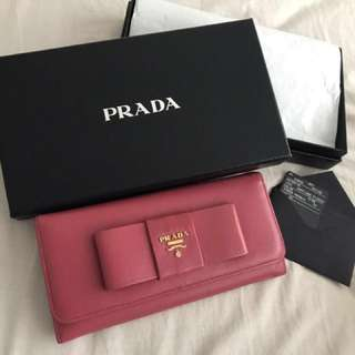 Authentic PRADA Bow Saffiano Wallet 二手真品 Prada銀包