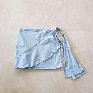 Mango Denim Wrap Over Ruffle Skirt