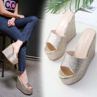 Size 34-38 Glitter Peep Toes Wedges