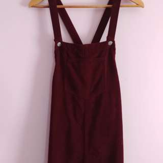 TOPSHOP Wine corduroy overall dress