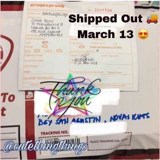 🚚Shipped Out - March 13 😍