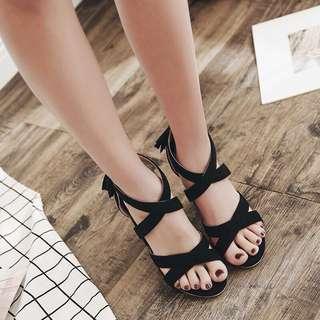 Size 35-40 Cross Peep Toes Chunky High Heels