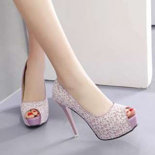 Size 34-39 Lace Peep Toes High Heels