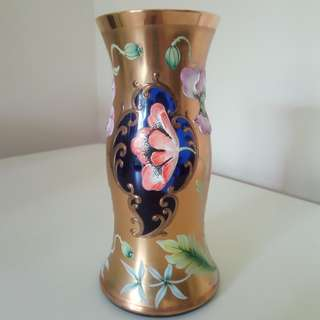 Bohemia Glass blue and gold gilt hand painted vase