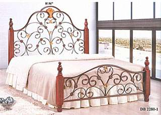 METAL BED QUEEN SIZE WITH WOODEN BASE MODEL - DB2280-1