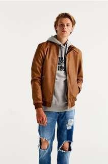 全新 Pull & Bear 男裝 啡色仿皮biker外套 Ribbed Faux Leather Jacket