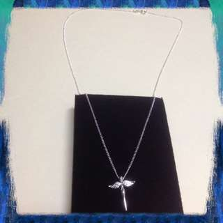 Genuine Pure 925 Italy Silver Angel Wings Necklace