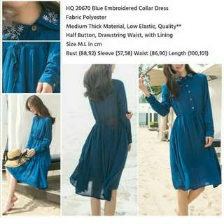 Blue Embroidered Collar Dress