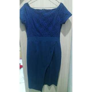 Blue Mini Shortsleve Dress