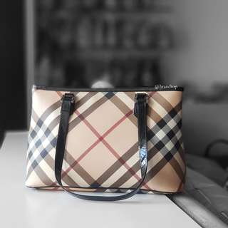 Authentic Burberry Nova Check Zip Tote