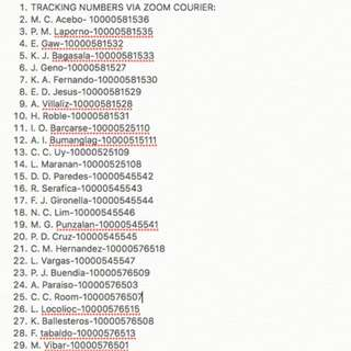 SHIPPING TRACKING NUMBERS