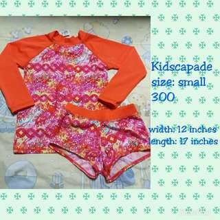 Orange floral rash guard