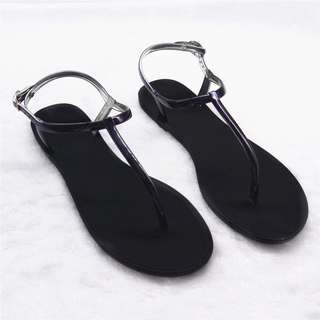 T strap jelly sandals