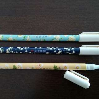 Gel ink flower print set of 3 pens