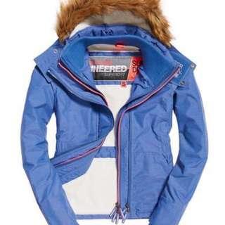 🚚 Superdry專櫃正品Sherpa SD-Wind Attacker 絨毛連帽防風夾克 淡藍灰色現貨一件L
