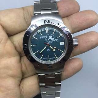 未使用品 蘇聯波膠潛水日曆自動手錶