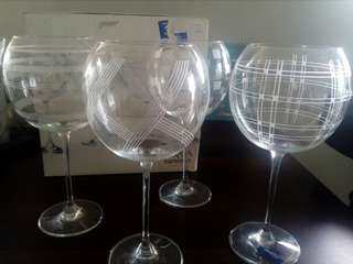 Mikasa Art Deco European Crystal set of 4 wine stem goblets