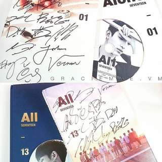 ON HAND UNSEALED ALBUM SIGNED ALBUM SEVENTEEN - ALONE ALL MEMBERS