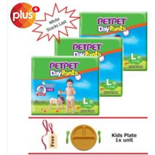 SHOCKING DEAL : Pet Pet DayPants Mega Pack (3 pack) + FOC Kids Plate (While Stock Last) - M76/L66/XL56/XXL48
