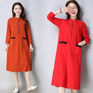 (M~2XL) 2018 Spring loose collar long long-sleeved cotton and linen A-shaped bottoming dress