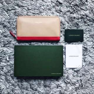 Longchamp Beige - Coral Leather Wallet (Authentic)