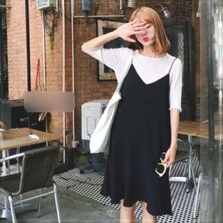 黑色細肩帶魚尾裙洋裝