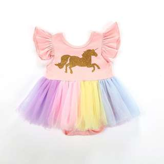 Pastel Rainbow Unicorn Romper Tutu Dress