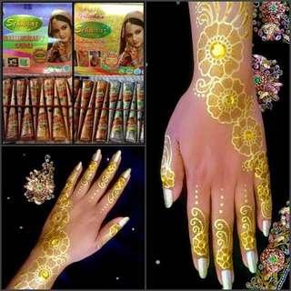 Golecha White/Gold/Yellow henna Cone