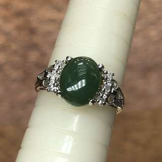 14kt A jade diamond ring