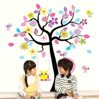 Tree Birds Double Sheets Wall Decal Sticker