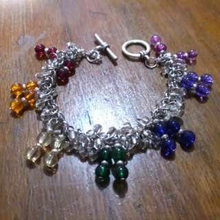 Rainbow beads charms bracelet