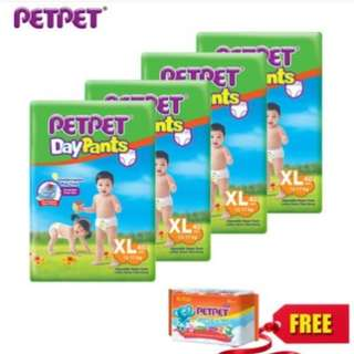 SHOCKING DEAL : PETPET DayPants Diaper Jumbo Pack M54/L46/XL40/XXL32 (4 pack) + Petpet Wipes