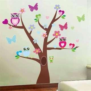 Owls Tree Wall Decal Sticker