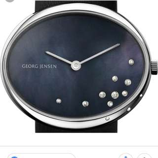 [Georg Jensen] 100% New! - Vivianna Oval Large, Black Pearl Dial with 0.09ct Diamond~ NO BARGAIN! Original Price around HK$12000 (*come with one extra Genuine leather strap)