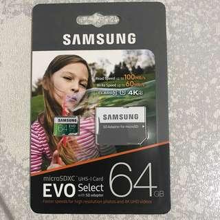 Samsung 64gb Evo Select MicroSD Card