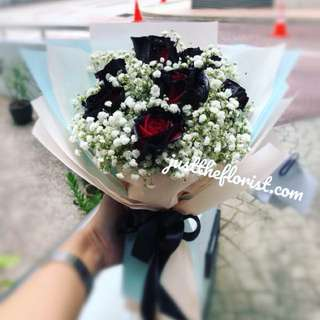 Black roses Korean Style Bouquet