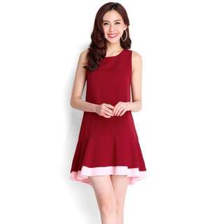 Paired Perfection Dress in Wine Red