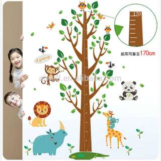 Grow Chart Animals Double Shees Window Wall Decal Sticker