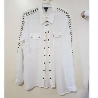 White Top with stud details Size 10
